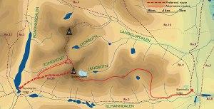 Her ser man anbefalt rute, og alternativ rute ned i skaret mot Vinjeronden